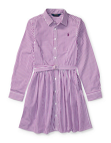 Ralph Lauren Childrenswear Striped Cotton Shirtdress-PURPLE-6
