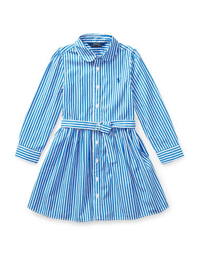 Ralph Lauren Childrenswear Striped Cotton Shirtdress-BLUE-6X