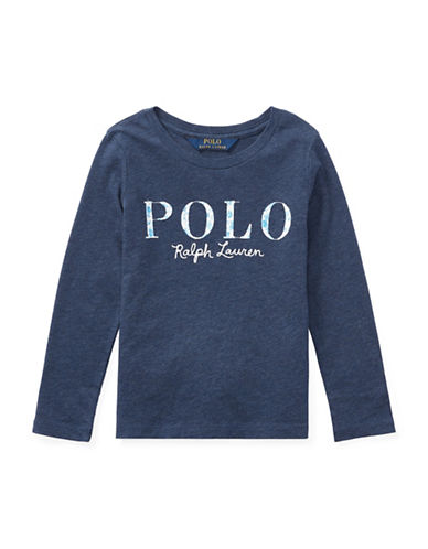 Ralph Lauren Childrenswear Cotton Long-Sleeve Graphic Tee-BLUE-6X