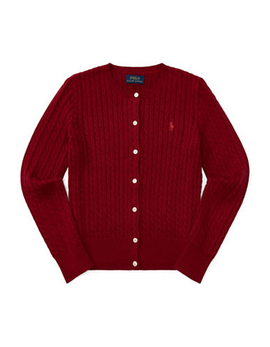 Ralph Lauren Childrenswear Cable-Knit Cotton Cardigan-RED-Small
