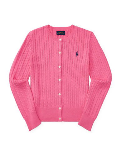 Ralph Lauren Childrenswear Cable-Knit Cotton Cardigan-PINK-XLarge