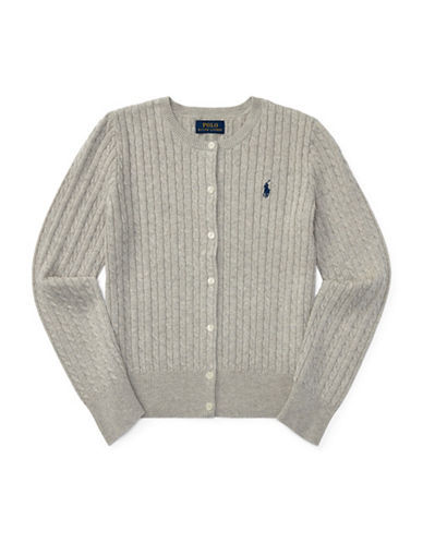 Ralph Lauren Childrenswear Cable-Knit Cotton Cardigan-GREY-XLarge