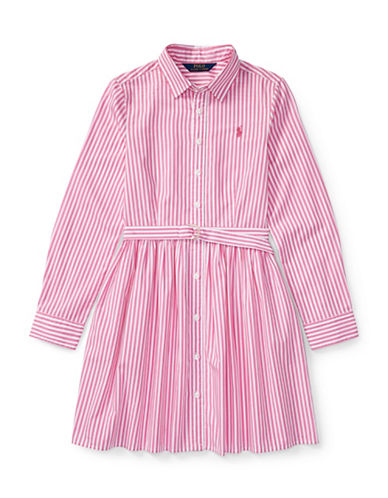 Ralph Lauren Childrenswear Striped Cotton Shirtdress-PINK-10