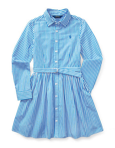 Ralph Lauren Childrenswear Striped Cotton Shirtdress-BLUE-12