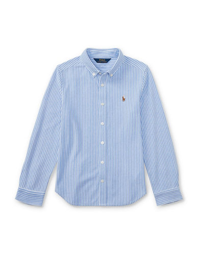 Ralph Lauren Childrenswear Striped Knit Cotton Oxford Shirt-BLUE-X-Large