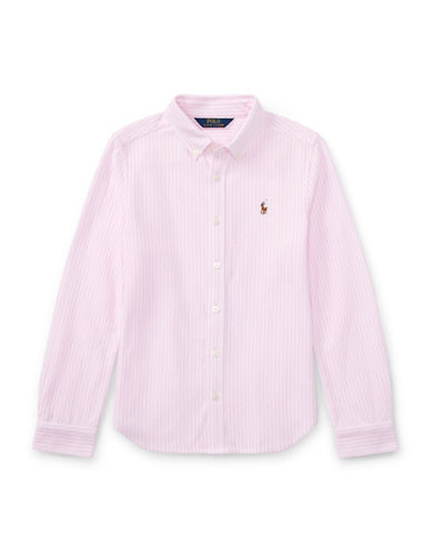 Ralph Lauren Childrenswear Striped Knit Cotton Oxford Shirt-PINK-X-Large