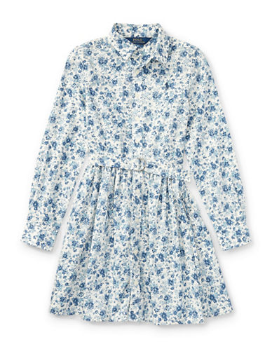 Ralph Lauren Childrenswear Floral Cotton Shirtdress-BLUE-10
