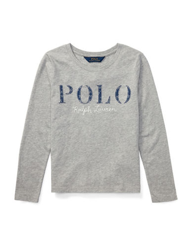 Ralph Lauren Childrenswear Cotton Long-Sleeve Graphic Tee-GREY-Large