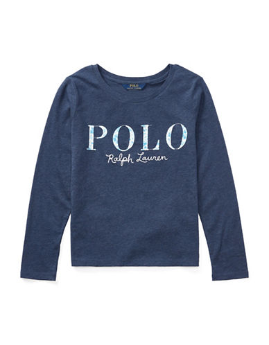 Ralph Lauren Childrenswear Cotton Long-Sleeve Graphic Tee-BLUE-Large