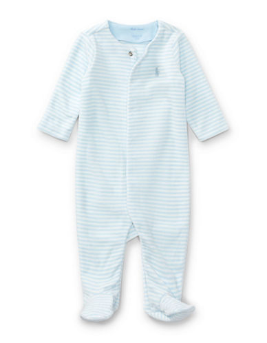 Ralph Lauren Childrenswear Striped Velour Footed Coverall-BLUE-9 Months