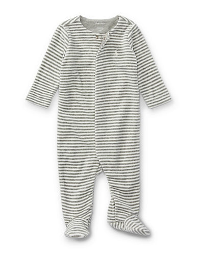 Ralph Lauren Childrenswear Striped Velour Footed Coverall-GREY-9 Months