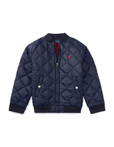 Ralph Lauren Childrenswear Quilted Baseball Jacket-BLUE-3T