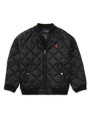 Ralph Lauren Childrenswear Quilted Baseball Jacket-BLACK-2T