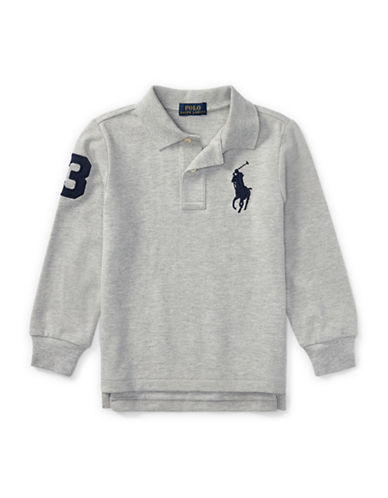 Ralph Lauren Childrenswear Tennis Tail Cotton Mesh Polo-GREY-3T