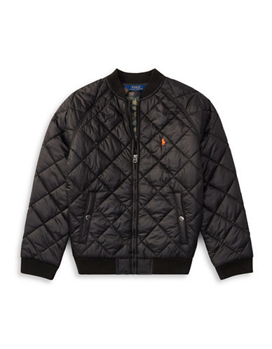Ralph Lauren Childrenswear Quilted Baseball Jacket-BLACK-Large