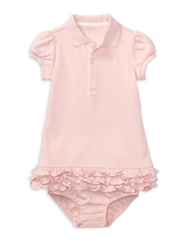 Ralph Lauren Childrenswear Two-Piece Cotton Ruffled Polo Dress and Bloomers Set-PINK-6 Months