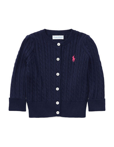 Ralph Lauren Childrenswear Cable-Knit Cotton Cardigan-BLUE-12 Months