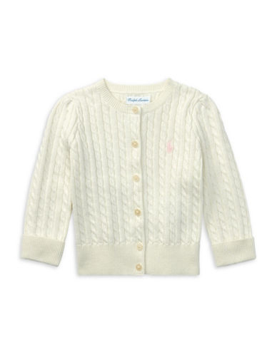 Ralph Lauren Childrenswear Cable-Knit Cotton Cardigan-WHITE-24 Months