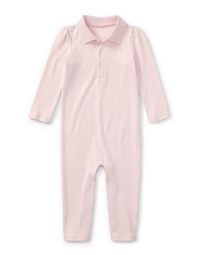 Ralph Lauren Childrenswear Cotton Polo Coverall-PINK-3 Months