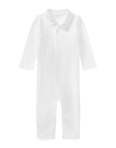 Ralph Lauren Childrenswear Cotton Polo Coverall-WHITE-12 Months