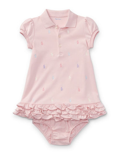 Ralph Lauren Childrenswear Two-Piece Cotton Ruffled Polo Dress and Bloomers Set-PINK-12 Months