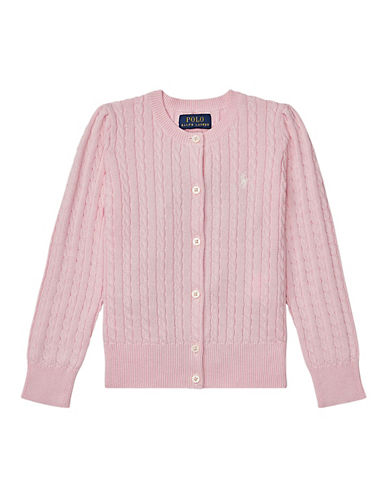 Ralph Lauren Childrenswear Cable-Knit Cotton Cardigan-PINK-3T