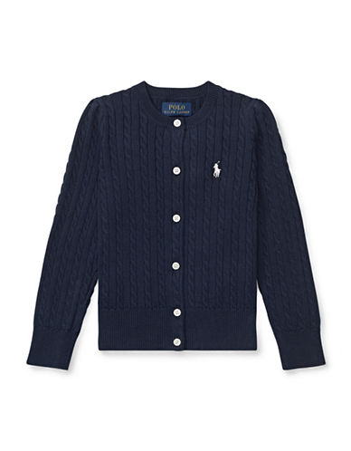 Ralph Lauren Childrenswear Cable-Knit Cotton Cardigan-NAVY-3T