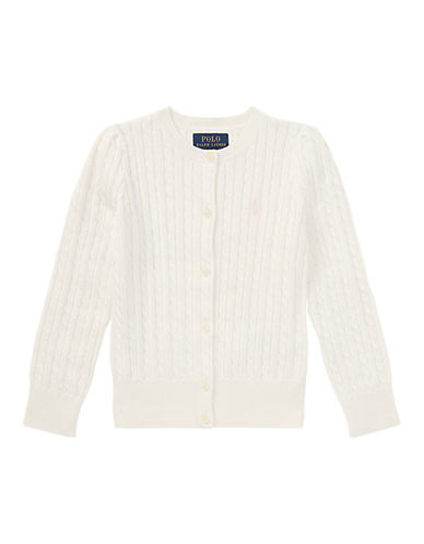 Ralph Lauren Childrenswear Cable-Knit Cotton Cardigan-WARM WHITE-4T