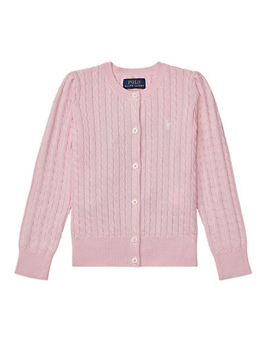 Ralph Lauren Childrenswear Cable-Knit Cotton Cardigan-PINK-5