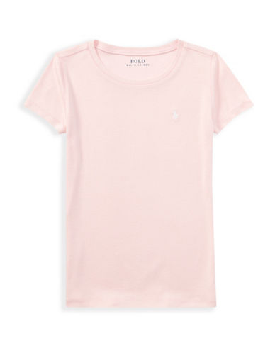 Ralph Lauren Childrenswear Cotton-Blend Crew Neck Tee-PINK-XLarge