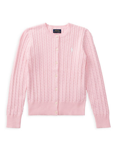 Ralph Lauren Childrenswear Cable-Knit Cotton Cardigan-PINK-Large