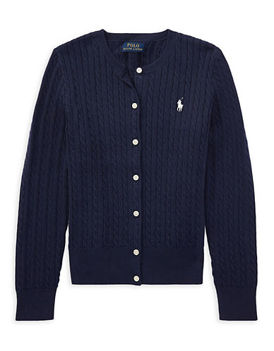 Ralph Lauren Childrenswear Cable-Knit Cotton Cardigan-NAVY-Small