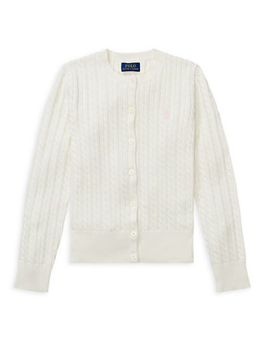 Ralph Lauren Childrenswear Cable-Knit Cotton Cardigan-WHITE-Small