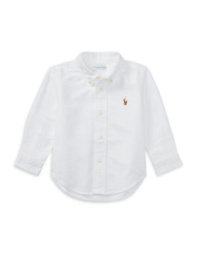 Ralph Lauren Childrenswear Cotton Oxford Sport Shirt-WHITE-18 Months