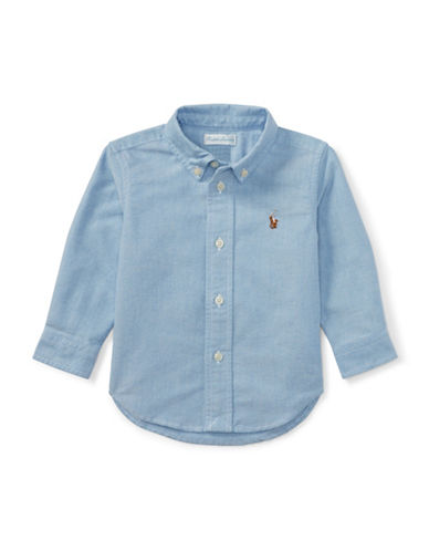 Ralph Lauren Childrenswear Cotton Oxford Sport Shirt-BLUE-6 Months