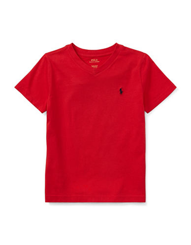 Ralph Lauren Childrenswear Jersey V-Neck Cotton Tee-RED-4