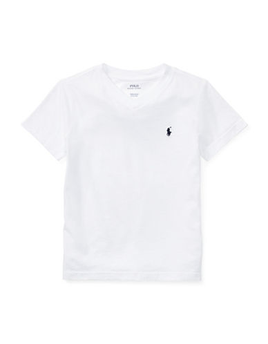 Ralph Lauren Childrenswear Jersey V-Neck Cotton Tee-WHITE-4