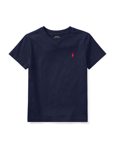 Ralph Lauren Childrenswear Jersey V-Neck Cotton Tee-BLUE-4