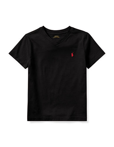 Ralph Lauren Childrenswear Jersey V-Neck Cotton Tee-BLACK-2