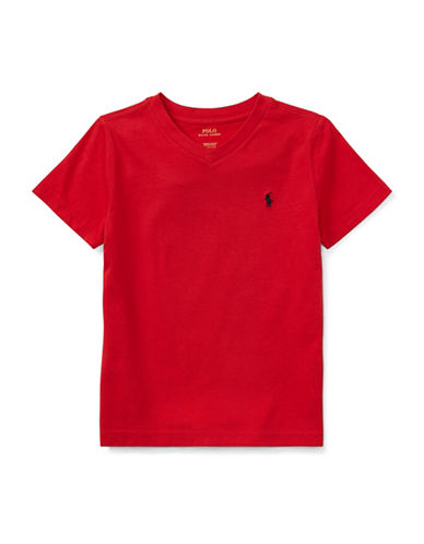 Ralph Lauren Childrenswear Jersey V-Neck Cotton Tee-RED-7