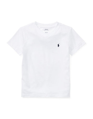 Ralph Lauren Childrenswear Jersey V-Neck Cotton Tee-WHITE-5