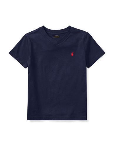 Ralph Lauren Childrenswear Jersey V-Neck Cotton Tee-BLUE-6