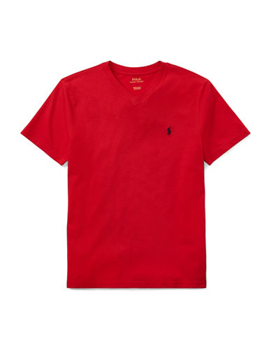 Ralph Lauren Childrenswear V-Neck Cotton Tee-RED-X-Large
