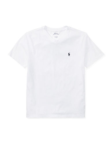 Ralph Lauren Childrenswear V-Neck Cotton Tee-WHITE-Small