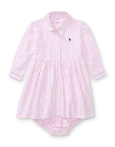 Ralph Lauren Childrenswear Two-Piece Striped Fit-and-Flare Shirtdress and Bloomer Set-PINK-24 Months