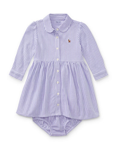 Ralph Lauren Childrenswear Two-Piece Striped Fit-and-Flare Shirtdress and Bloomer Set-PURPLE-12 Months
