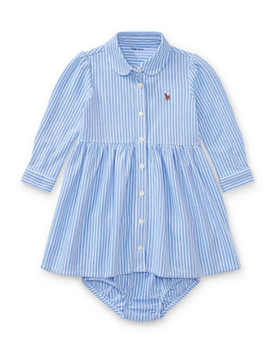 Ralph Lauren Childrenswear Two-Piece Striped Fit-and-Flare Shirtdress and Bloomer Set-BLUE-12 Months