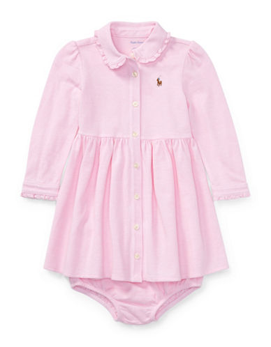 Ralph Lauren Childrenswear Two-Piece Fit-and-Flare Shirtdress and Bloomer Set-PINK-12 Months