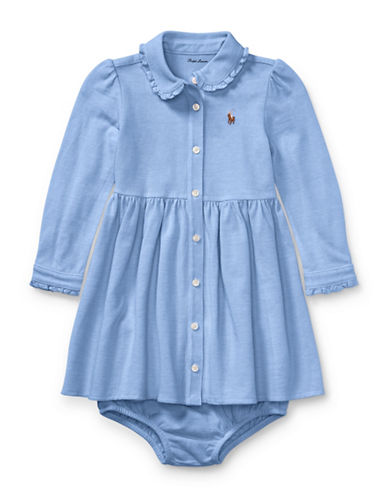 Ralph Lauren Childrenswear Two-Piece Fit-and-Flare Shirtdress and Bloomer Set-BLUE-3 Months