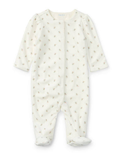 Ralph Lauren Childrenswear Floral Velour Coverall-PINK-6 Months